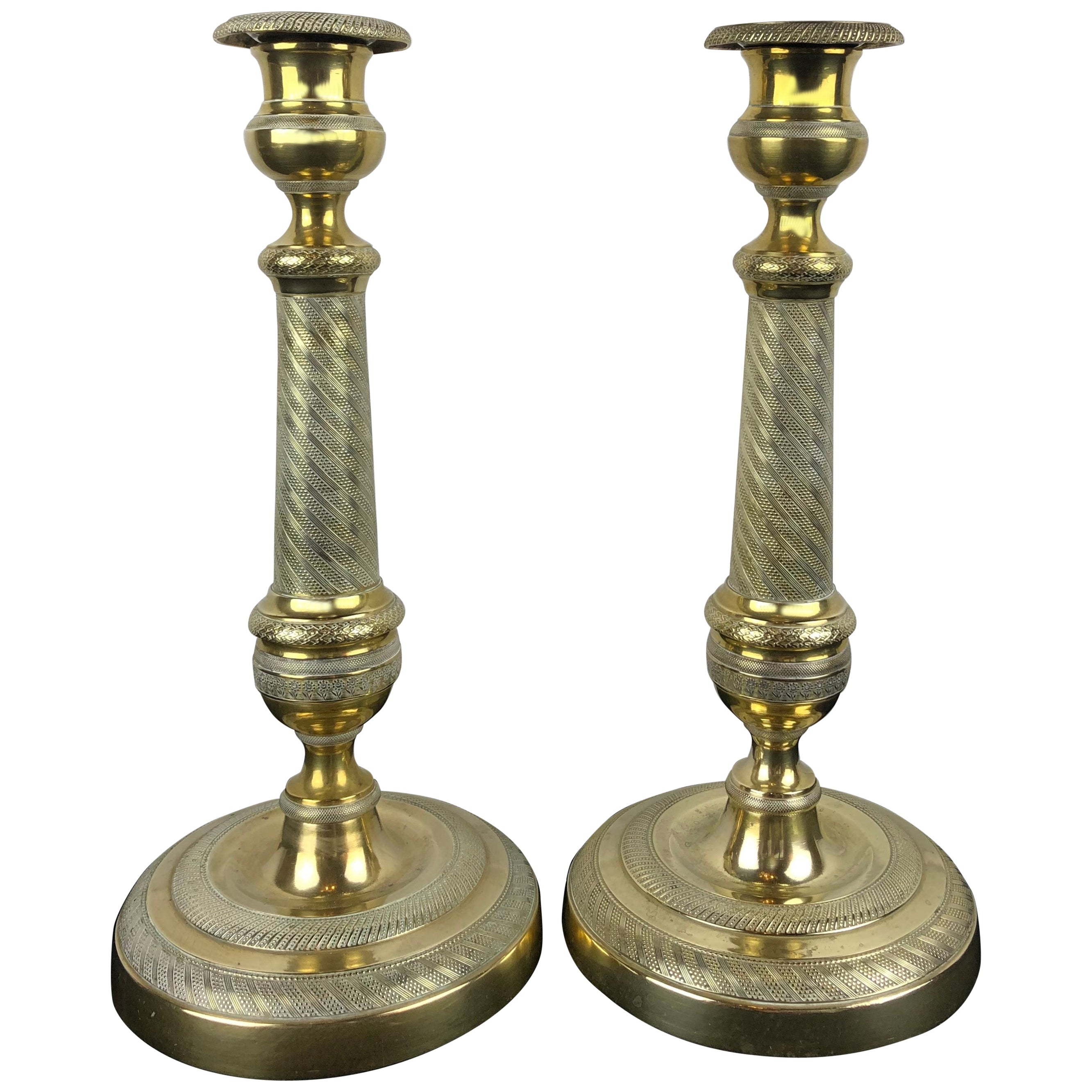 Fine Pair of French Empire Gilt Bronze Candlesticks, Early 19th Century