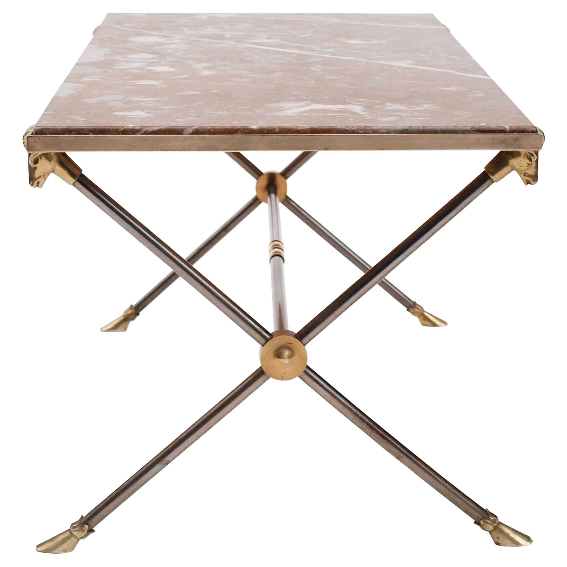 Attributed to Maison Ramsay Rams Head Brass and  Nickel Coffee Table