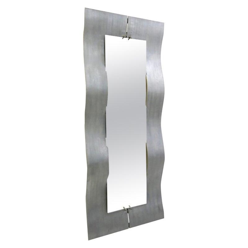 "Lorenzo Burchiellaro Etched Aluminum ""Wave"" Full Length Mirror, 1970"