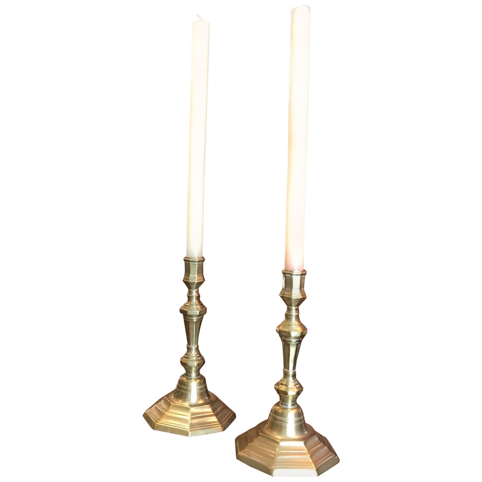 Pair 17th C. Candlesticks Candle Holder Light in Brass Antique Gift Object LA CA