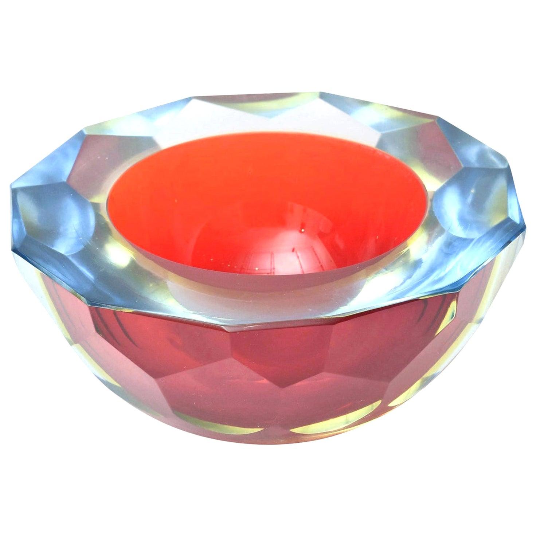 Murano Mandruzzato Sommerso Diamond Faceted Caviar Geode Glass Bowl Vintage