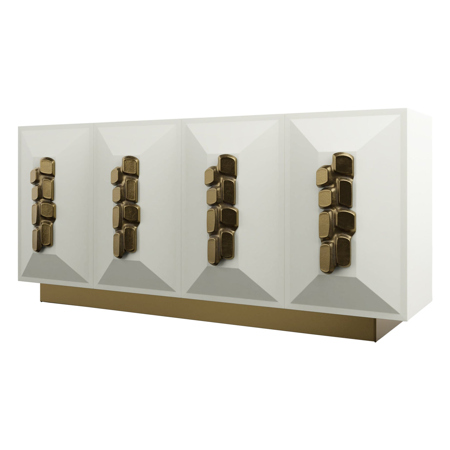 FAUSTINE CREDENZA - Modern cream lacquer with bronze handles