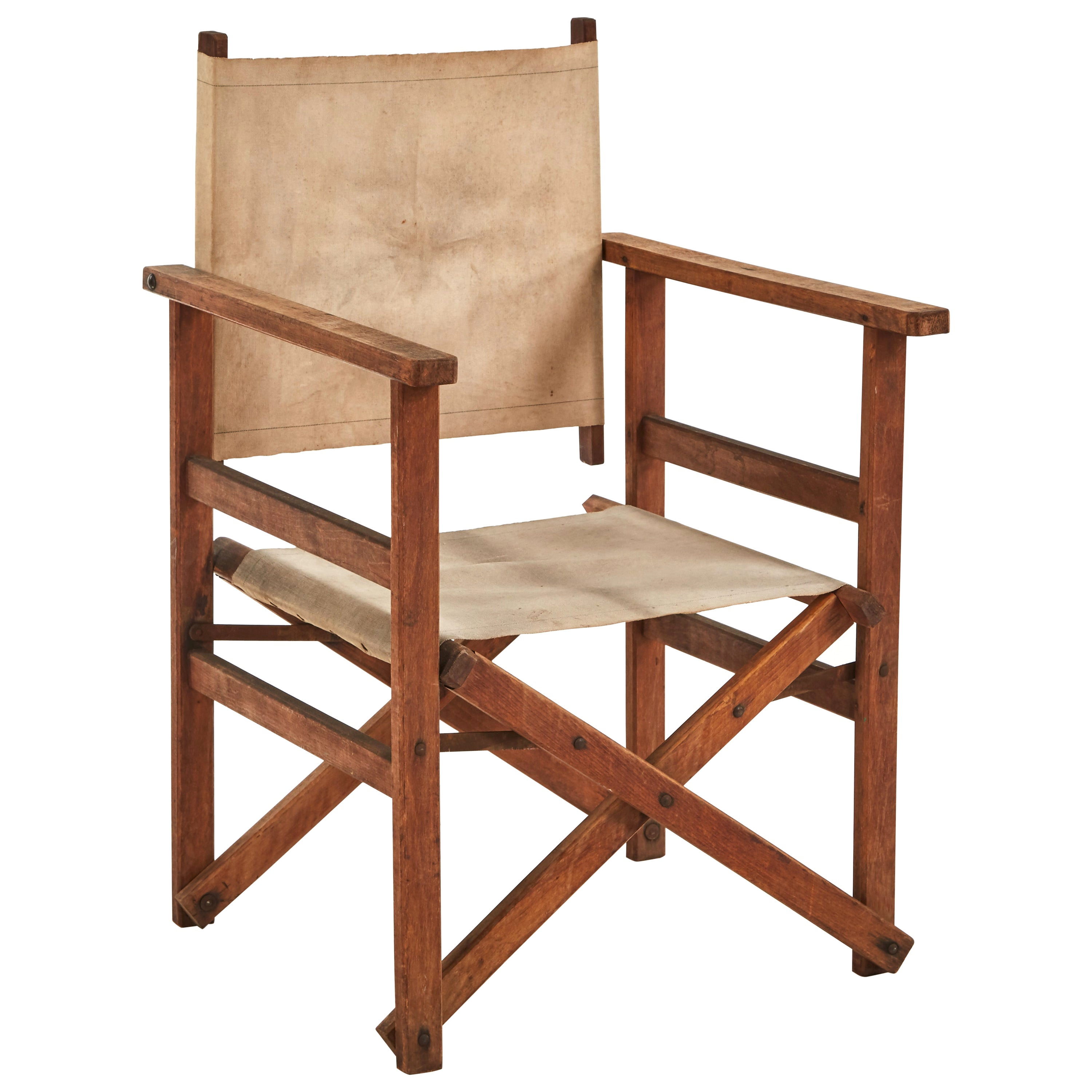 Early 20th Century Collapsible Canvas Director's Chair
