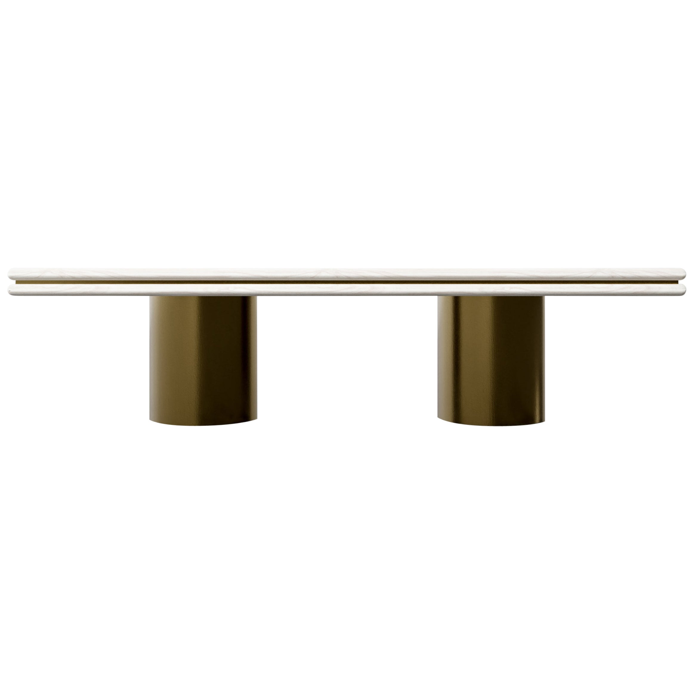 STACKED DINING TABLE - Modern Wooden Dining Table with Metal Inlay and Bases