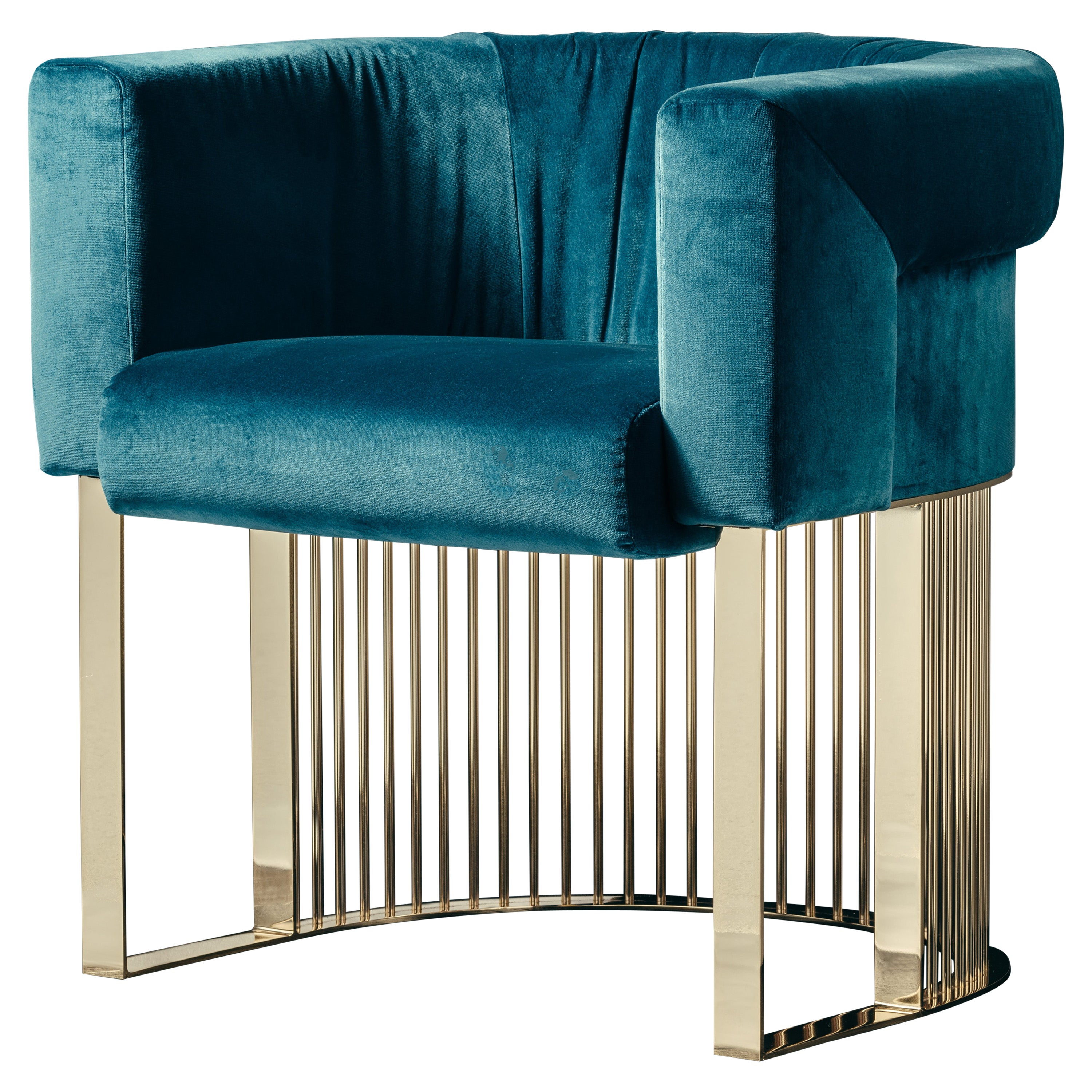 Bonheur Chair in Blue Velvet and Polished Brass