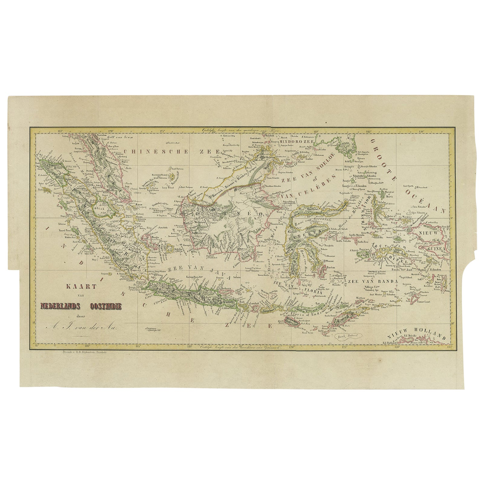 Antique Map of the East Indies by Van der Aa '1849'