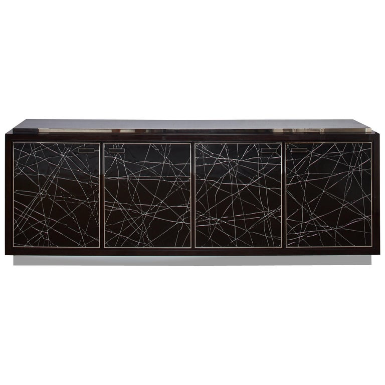 Modern Cabinet in Stained Oak Veneer with Black Artisan Panels For Sale