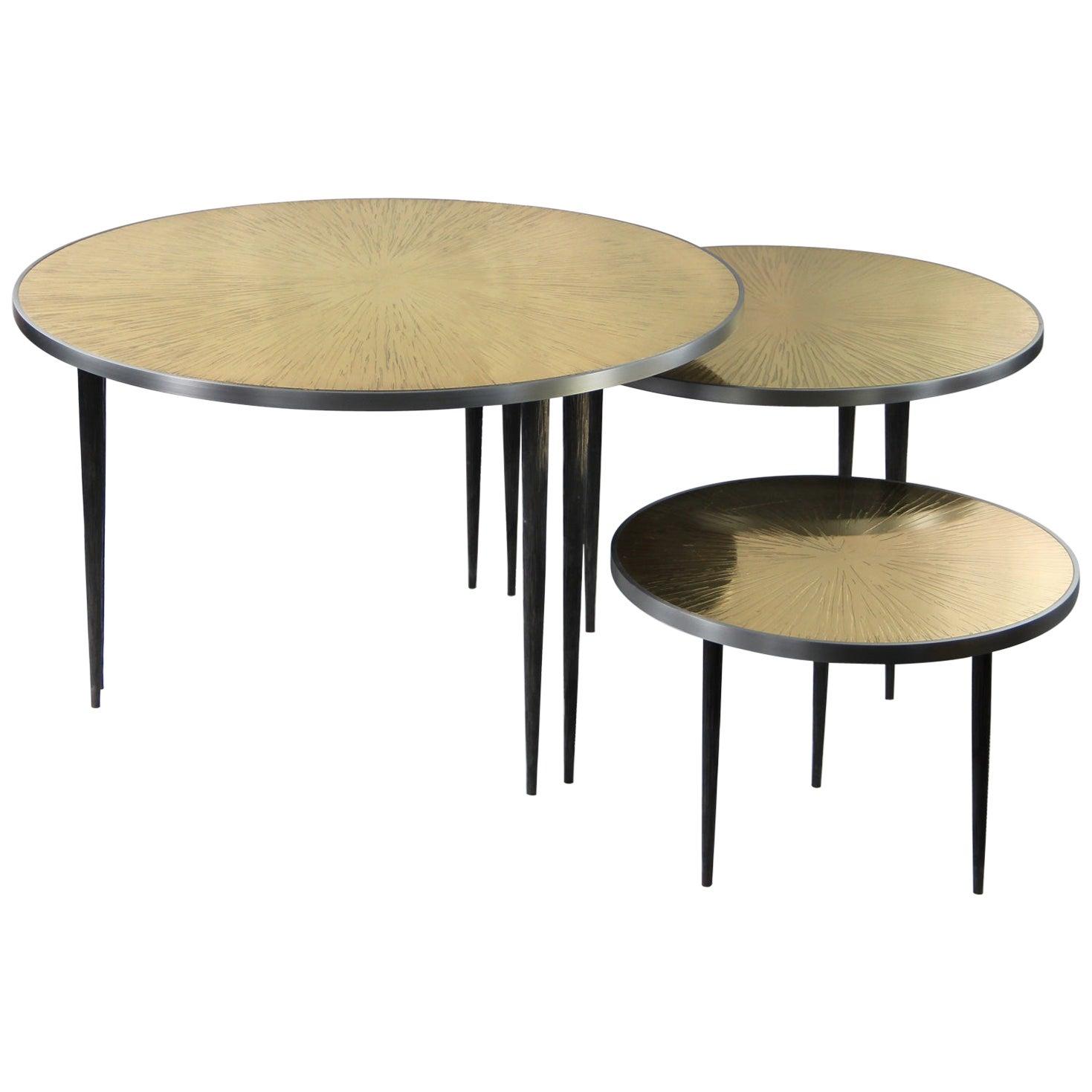 Large Set of 3 Nesting Side Bronze Tables