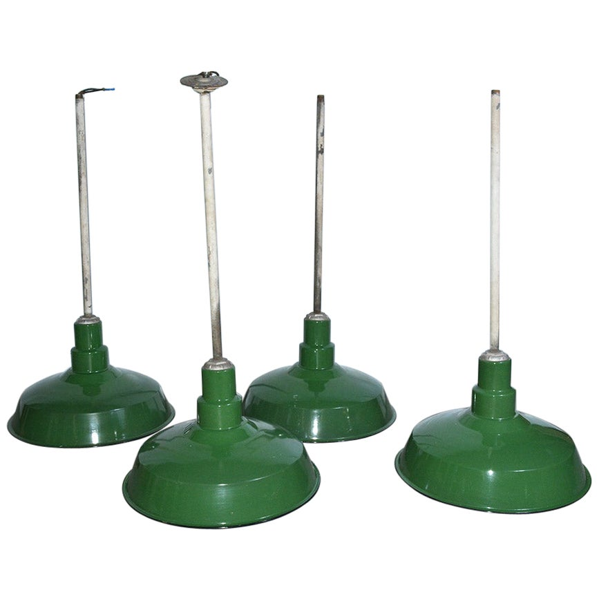 Green Enameled Industrial Hanging Light Fixture Sold Singly