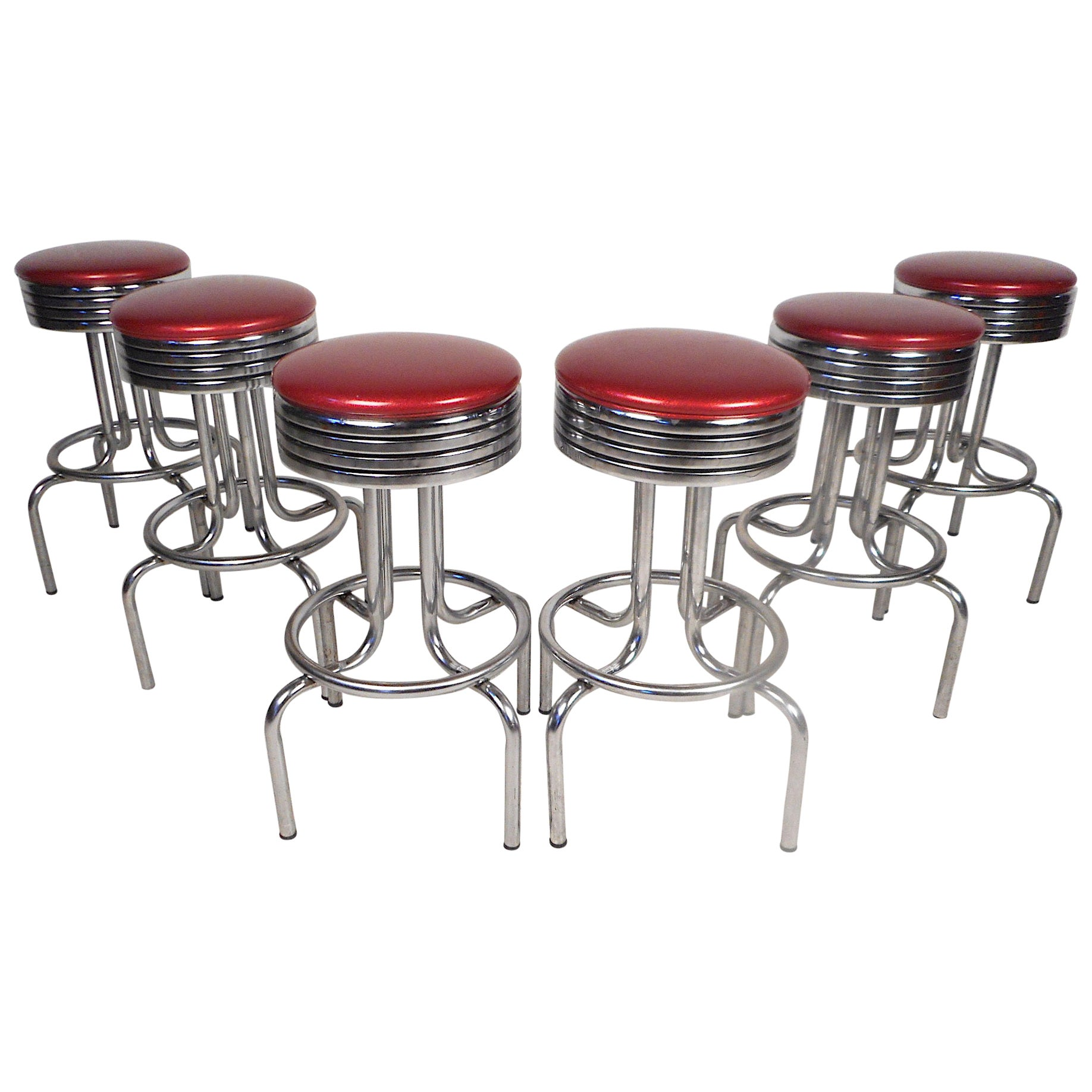Midcentury Swiveling Stools, Set of 6