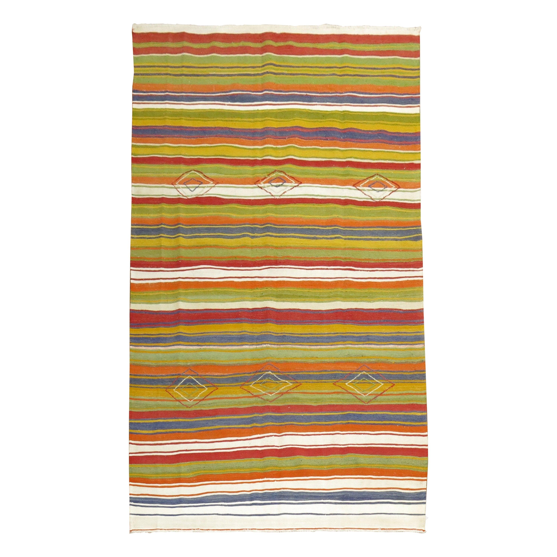Midcentury Turkish Striped Kilim