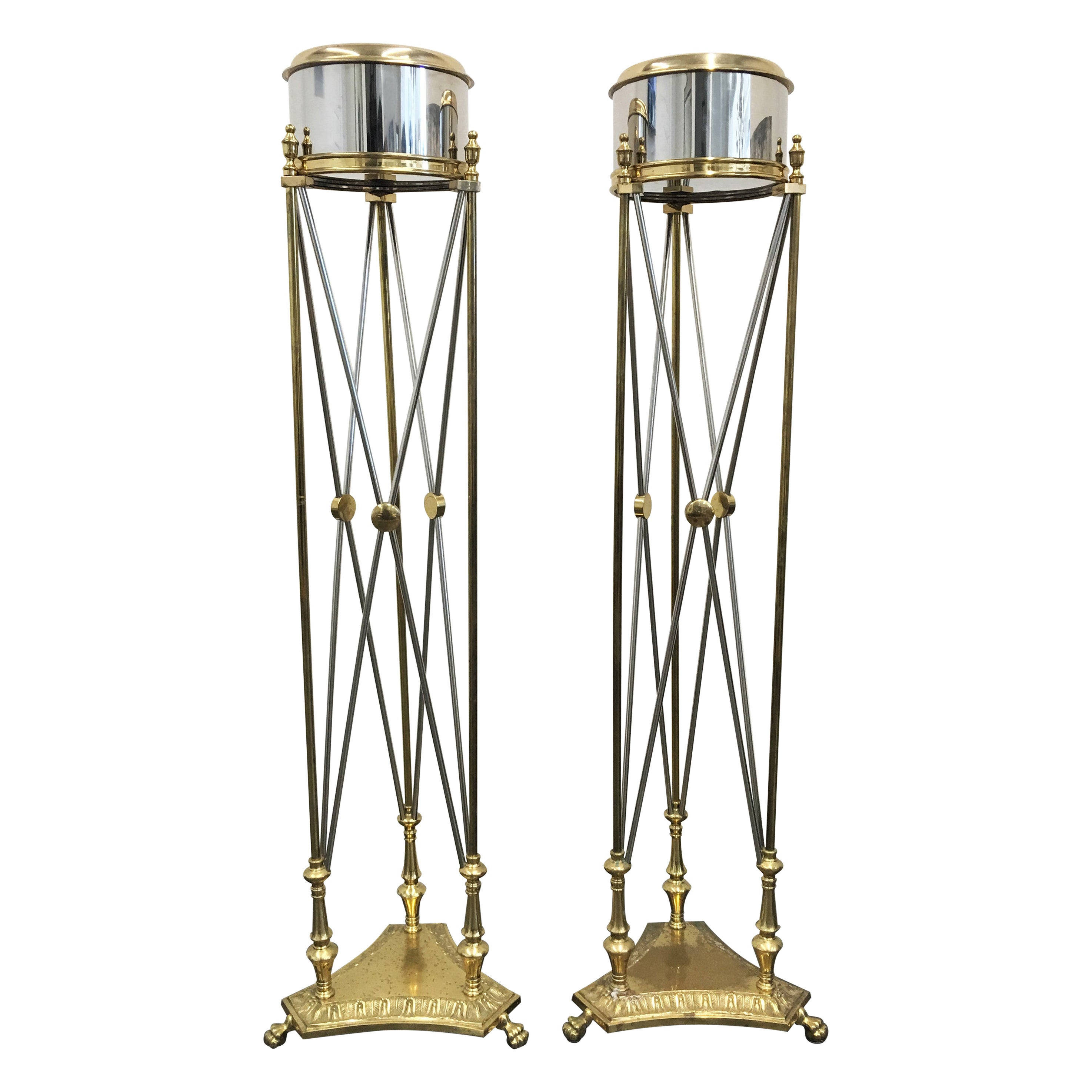 Pair of Maison Jansen Style Steel and Brass Jardinière / Planter Stands