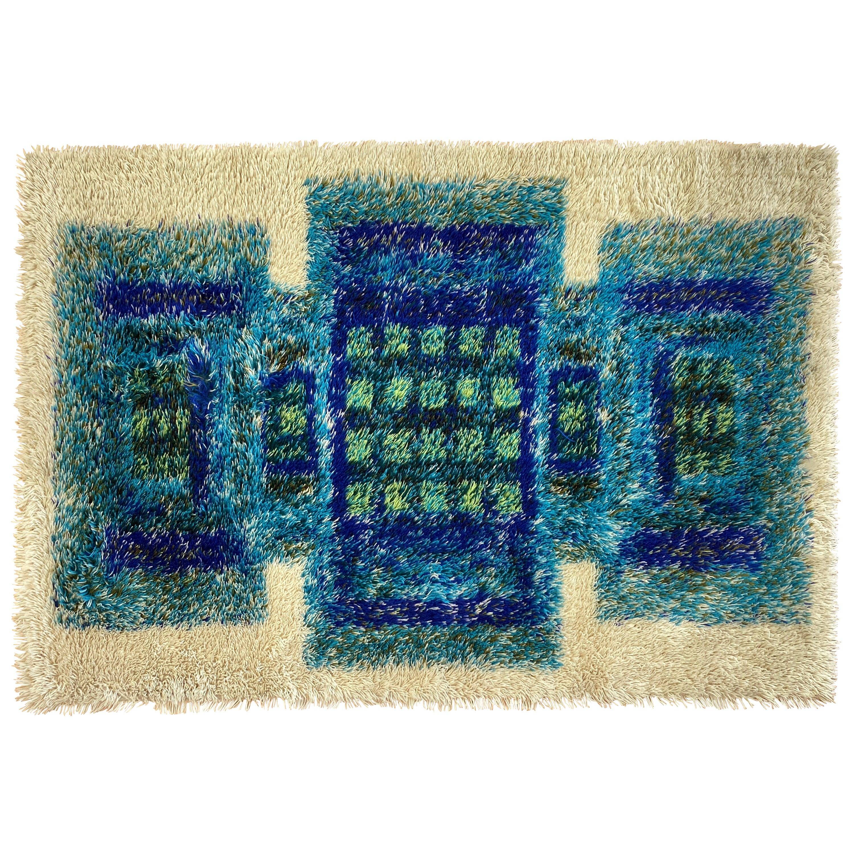 Scandinavian Modern-Style Blue & Green Geometric Design Wool Rya Rug, 1960s