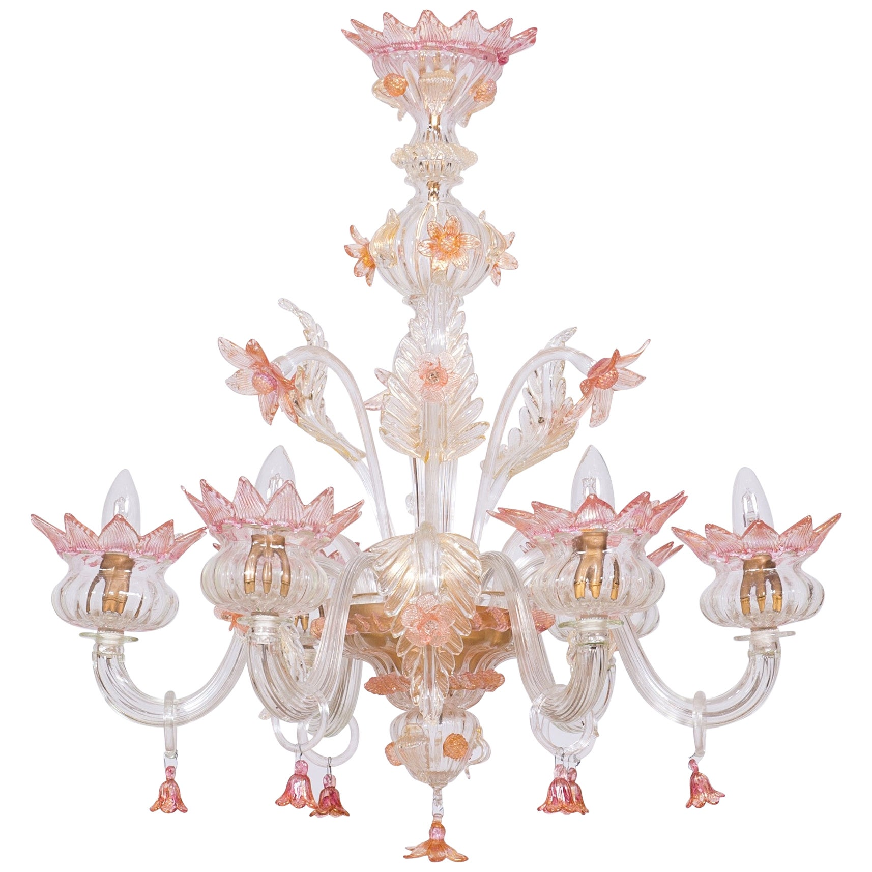 Floral Murano Glass Chandelier Pink and Gold Vintage Murano Gallery, Italy