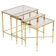 Brass Nesting Tables, Empire Style, circa 1950