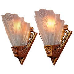 5 Lightolier Art Deco Bungalow Wall Sconces with Vintage Slip Shades