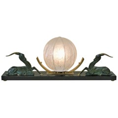 French 1930s Bronze Art Deco Table Lamp