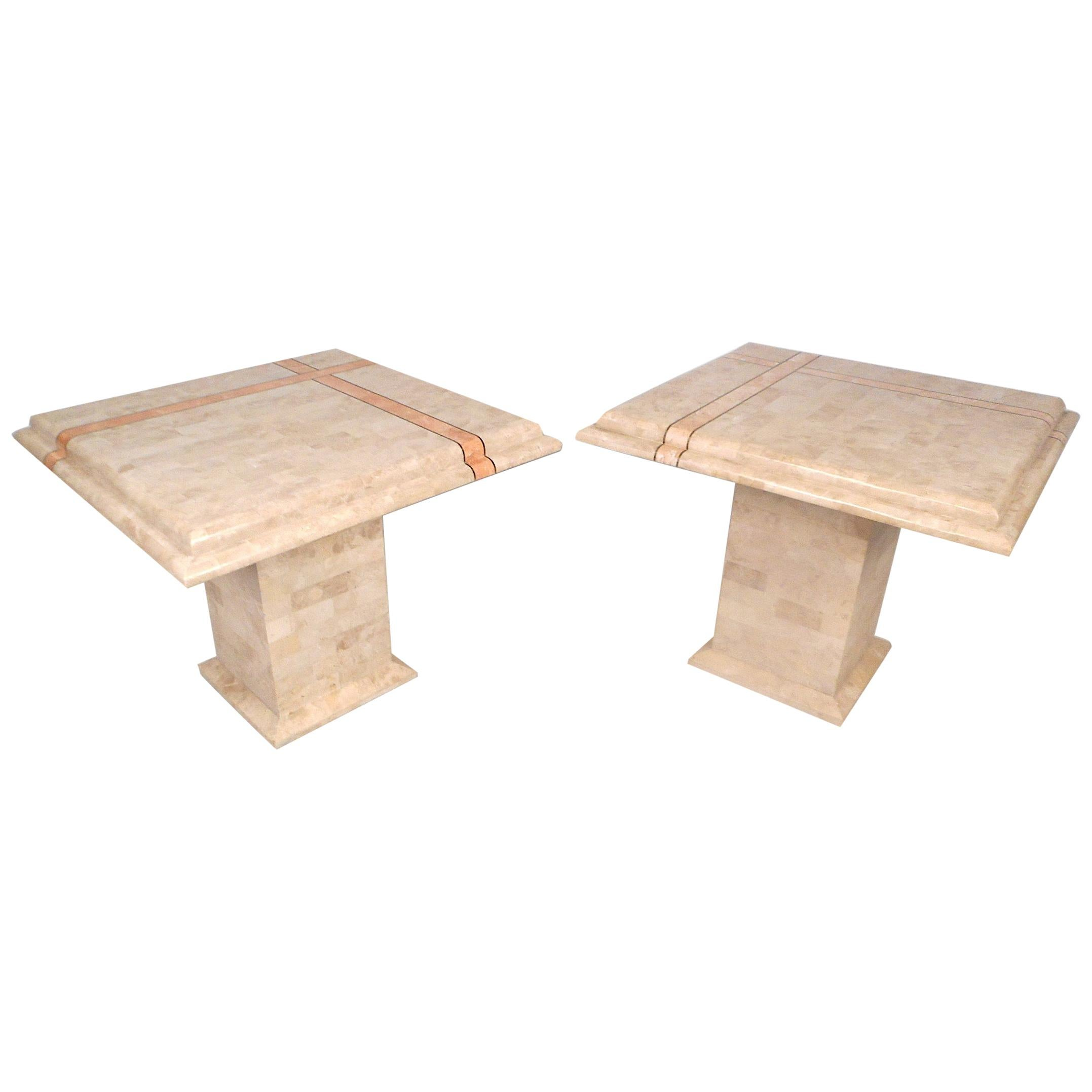 Maitland Smith Style Tessellated End Tables