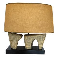 Super Stylish Mid-Century Modern Pottery Lamp with Oval Linen Shade