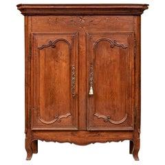 French 18th-19th Century Carved Oak Cabinet/ Cupboard