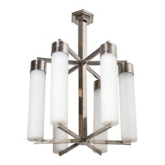French 20th Century Art Deco Six-Light Chandelier