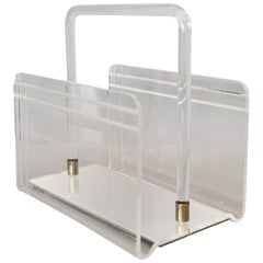 Dorothy Thorpe Mid-Century Modern Magazine Rack Mirrored Glass Lucite and Chrome