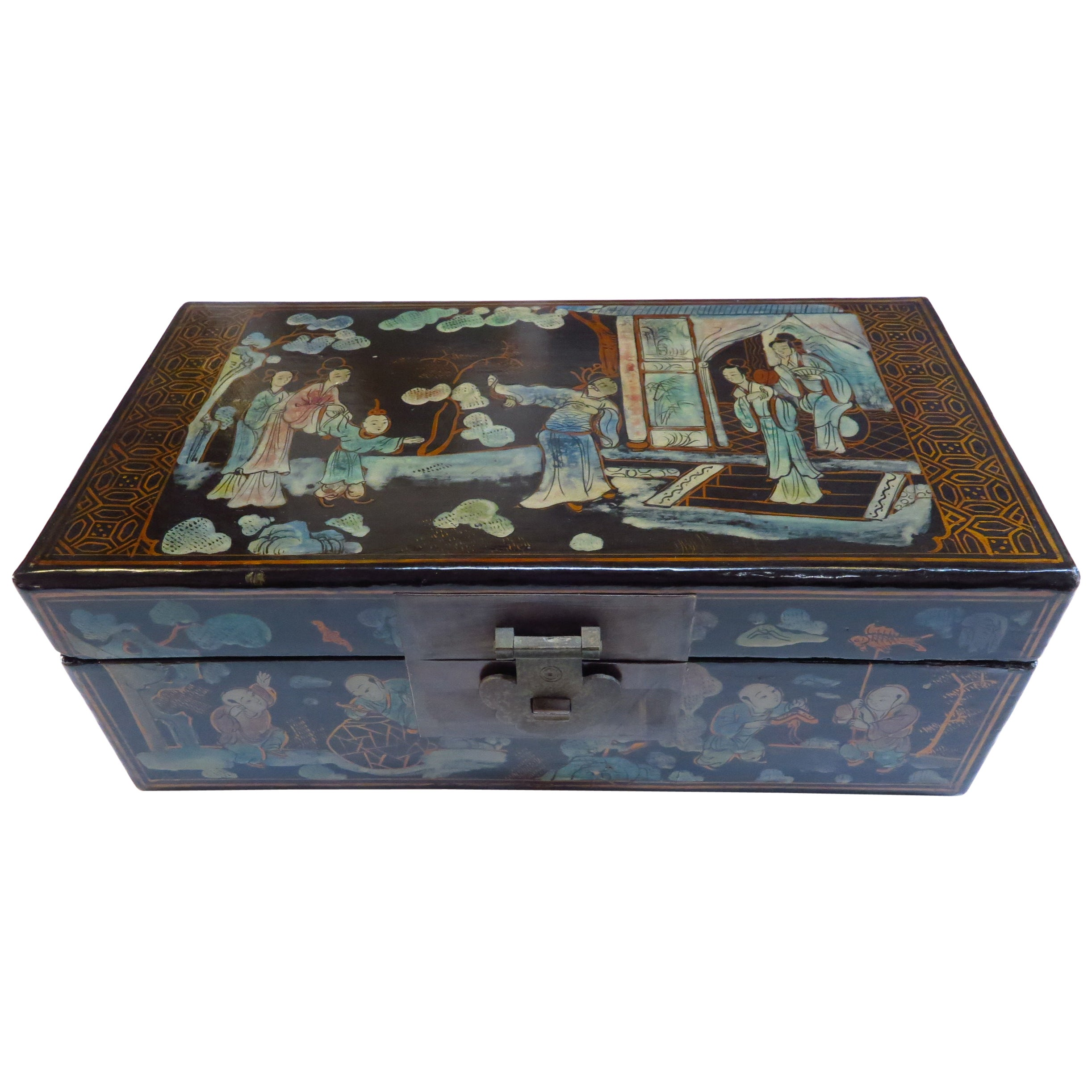 Antique Chinoiserie Painted Box