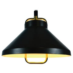 Brown Metal and Brass Pendant Lamp by Jo Hammerborg for Fog & Mørup, 1970s