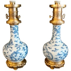 Pair of Ormolu-Mounted Theodore Deck Chinese Dragons Vases as Table Lamps
