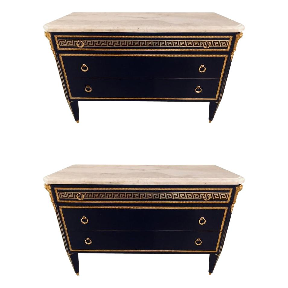 Pair of Ebony Hollywood Regency Jansen Style Greek Key Marble-Top Commodes