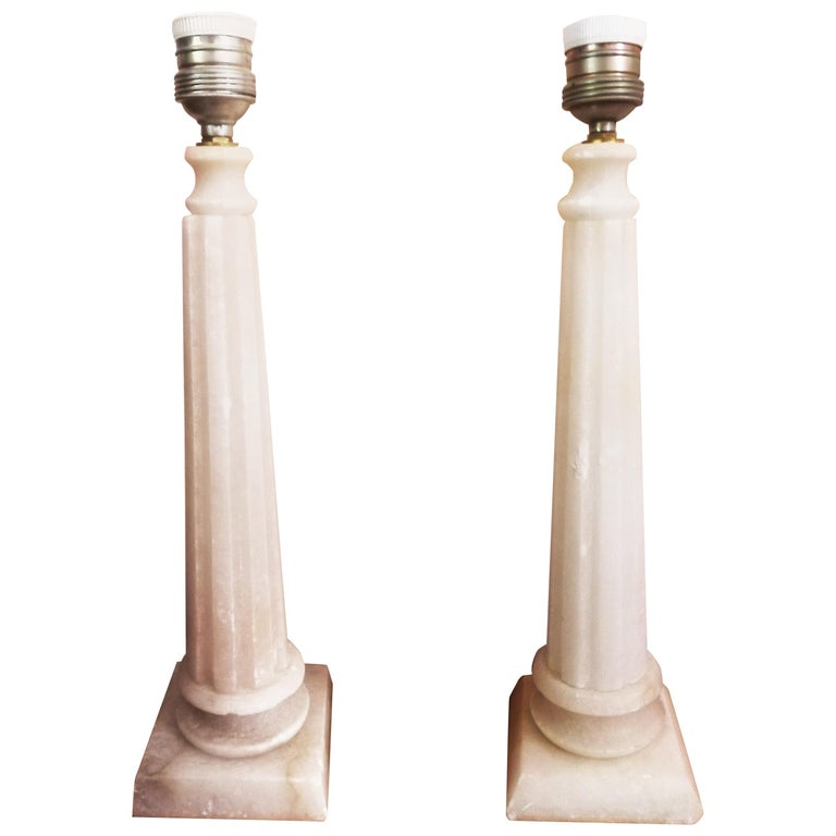 Alabaster Table Lamp Classic Column Form For Sale