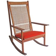 Hans Olsen, a Teak and Cane Rocking Chair, Juul Kristensen, 1960s