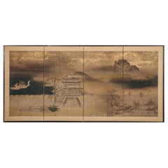 Japanese Four Panel Screen Chinese Temple in Mountain Landscape