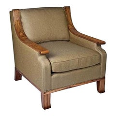 Deco Inspired Lounge Chair in Bolivian Rosewood and Down Upholstered Cushions