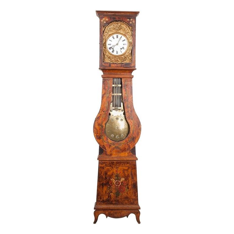 French 19th Century Pine Tall Case Clock For Sale