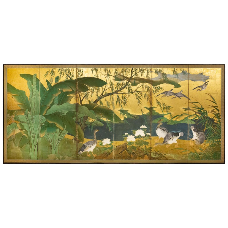 Japanese Six Panel Screen Tropical Garden For Sale