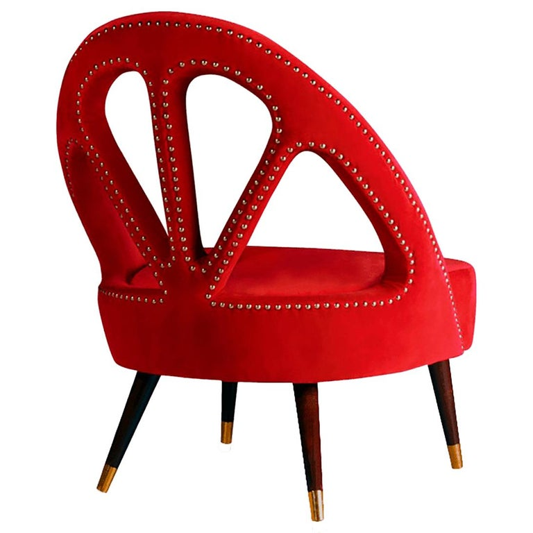 "Luxury ""Milano"" Club Chair or Armchair Upholstered in Red Velvet, Brass & Walnut For Sale"