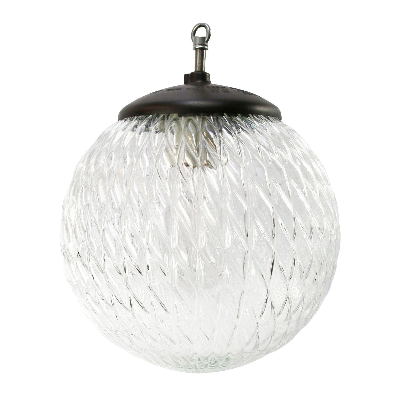 Clear Globe Glass Vintage European Bakelite Top Pendant Lights
