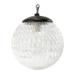 Clear Globe Glass Vintage European Bakelite Top Pendant Lights