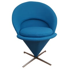 """Danish Design, Verner Panton, """"Cone Chair"""" Completely Renovated, 1970s"""