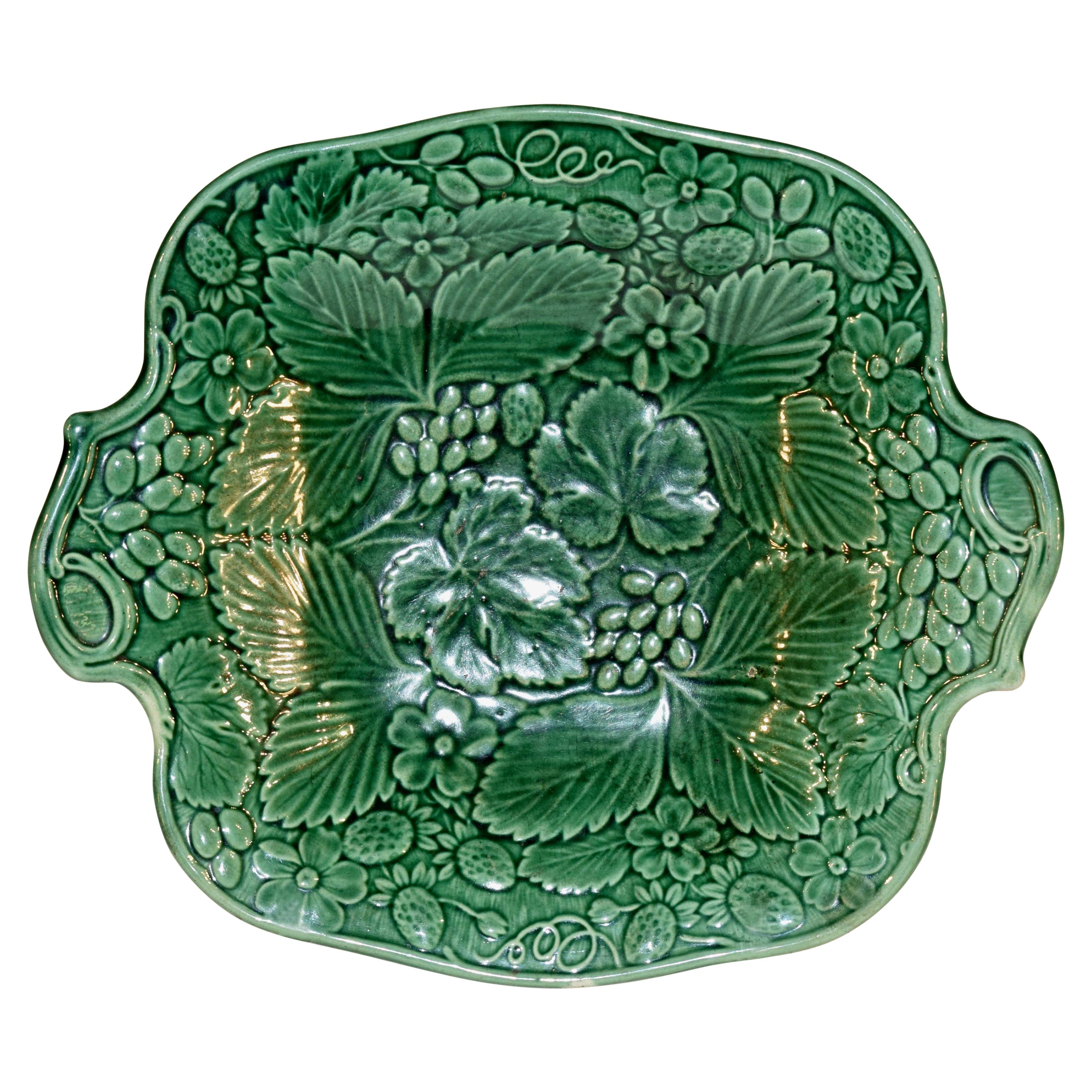 19th Century Majolica Handled Dish