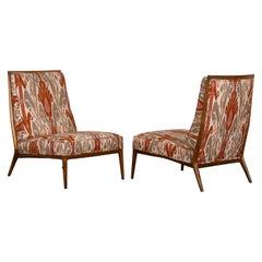 Pair of Paul McCobb Walnut Slipper Chairs, 1960s