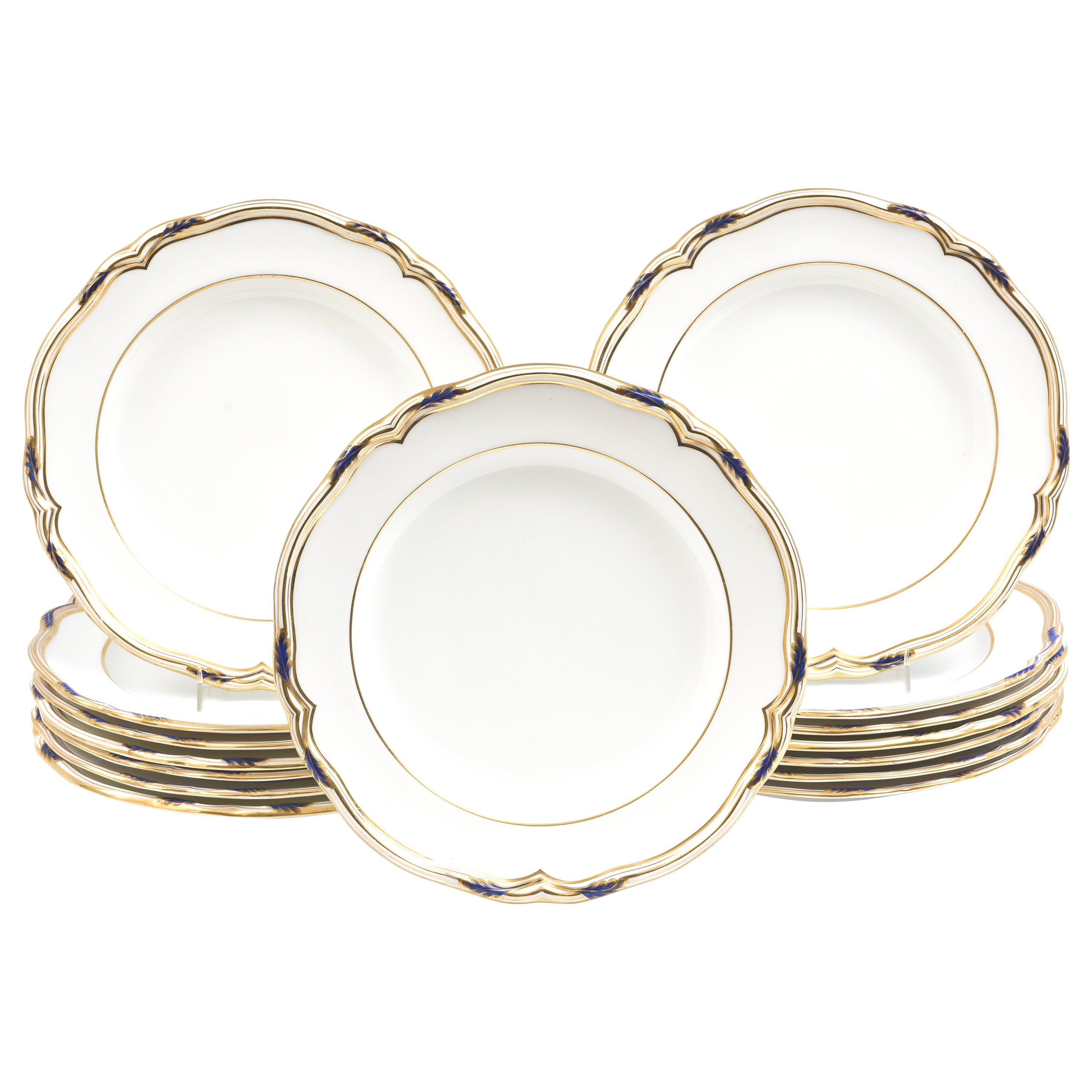 15 Antique Cobalt and Gold Dinner Plates, Spode, England Scalloped Shape Edge