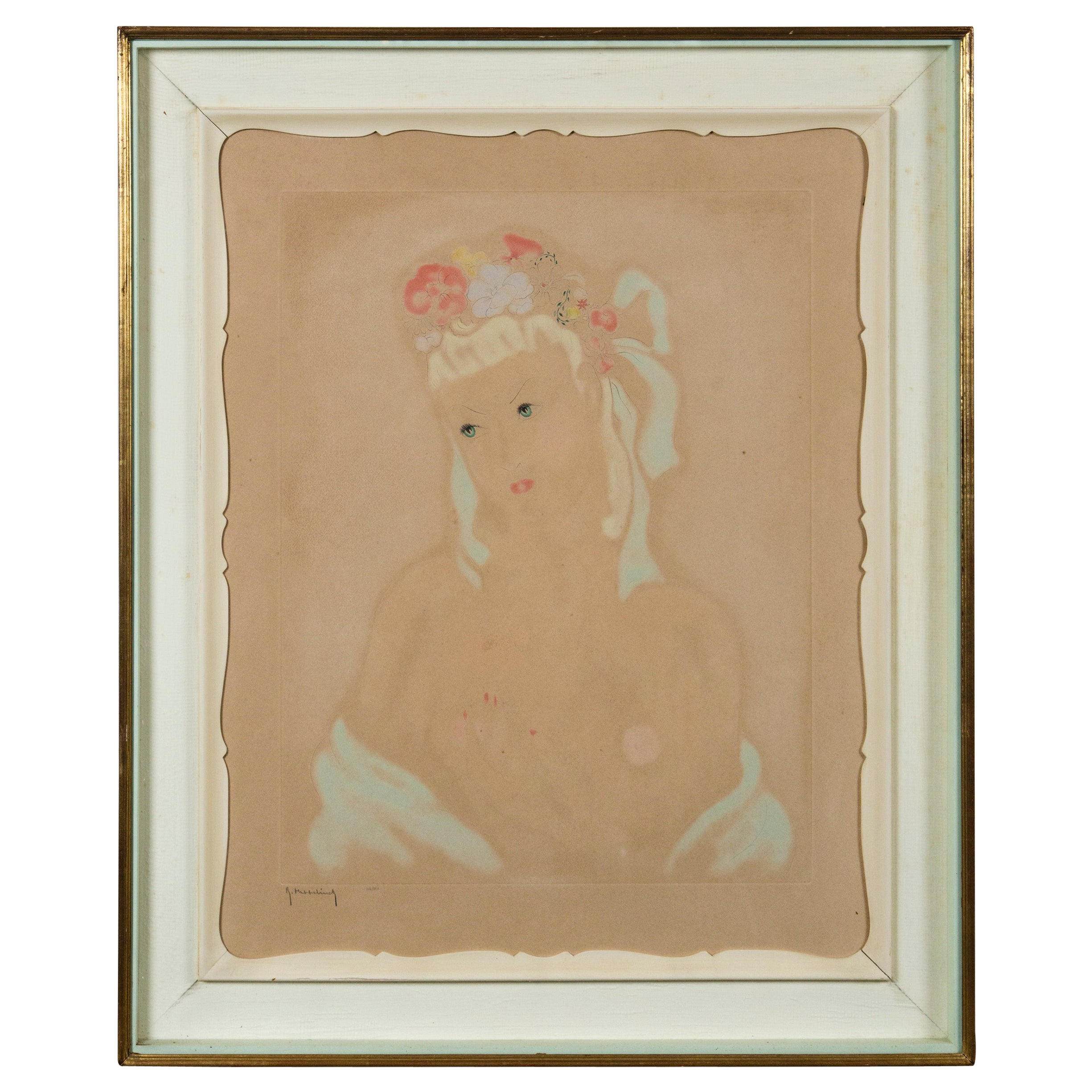 French 1940s Pastel Drawing of a Woman, Original French Framing