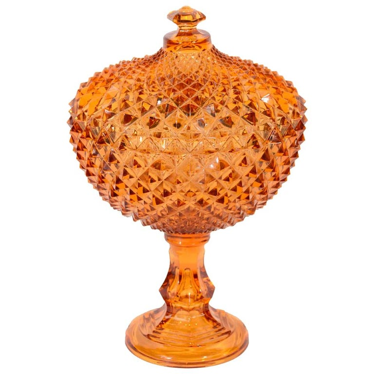 Exquisite Hollywood Regency Diamond Point Glass Footed Bowl in Amber, 1940's