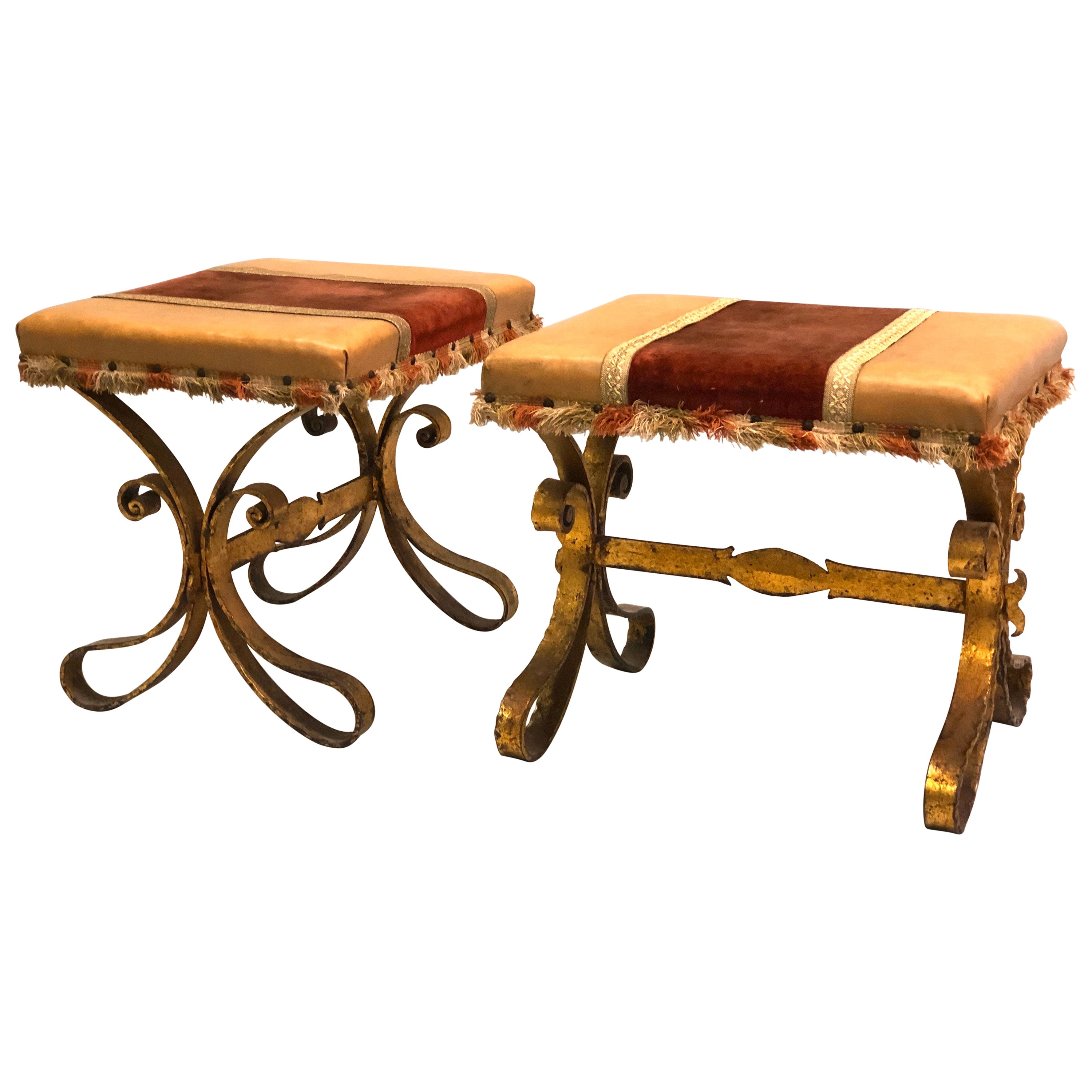 French Midcentury Gilt Wrought Iron and Leather Benches, Gilbert Poillerat, Pair