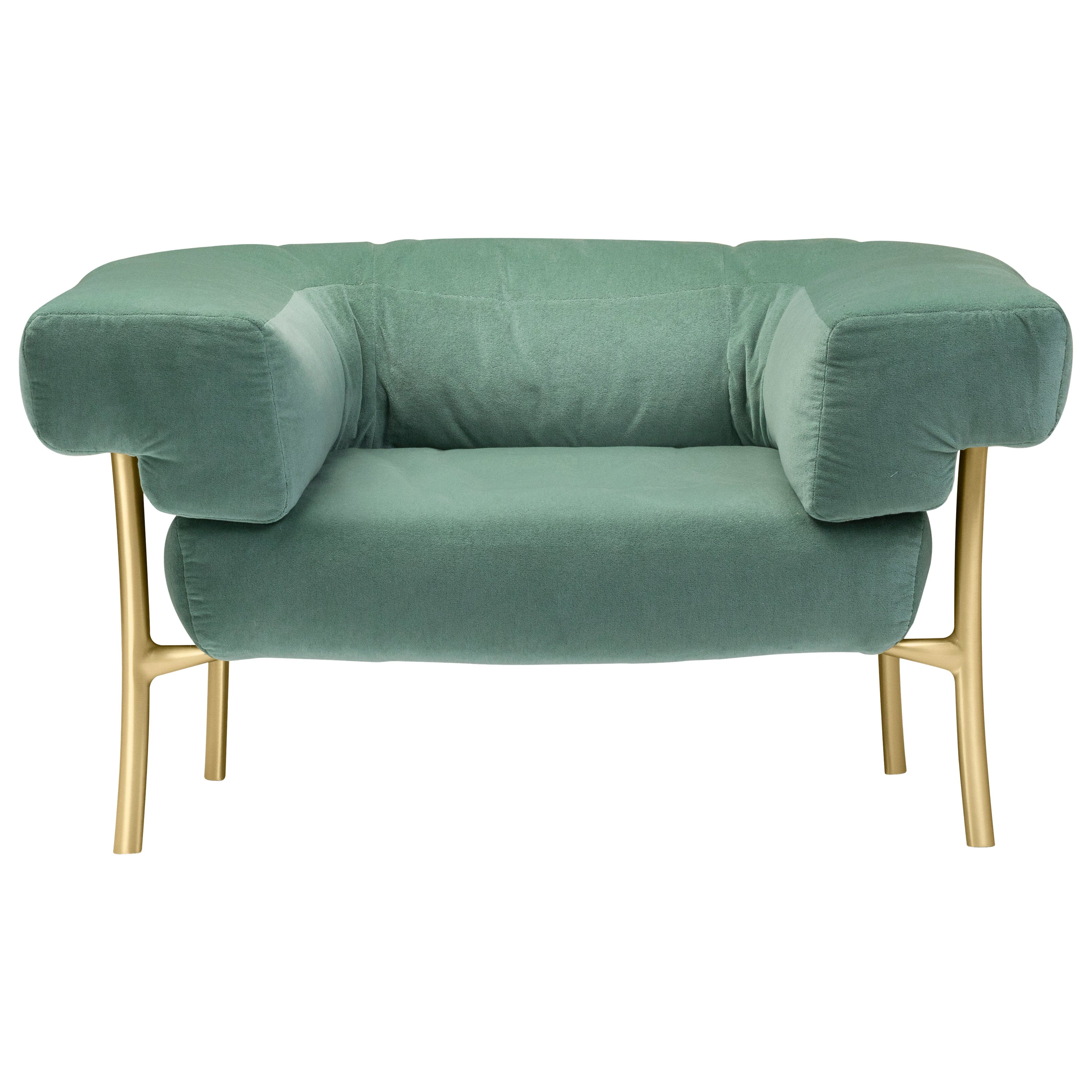 Ghidini 1961 Katana Lounge Chair in Fabric and Satin Brass by Paolo Rizzatto