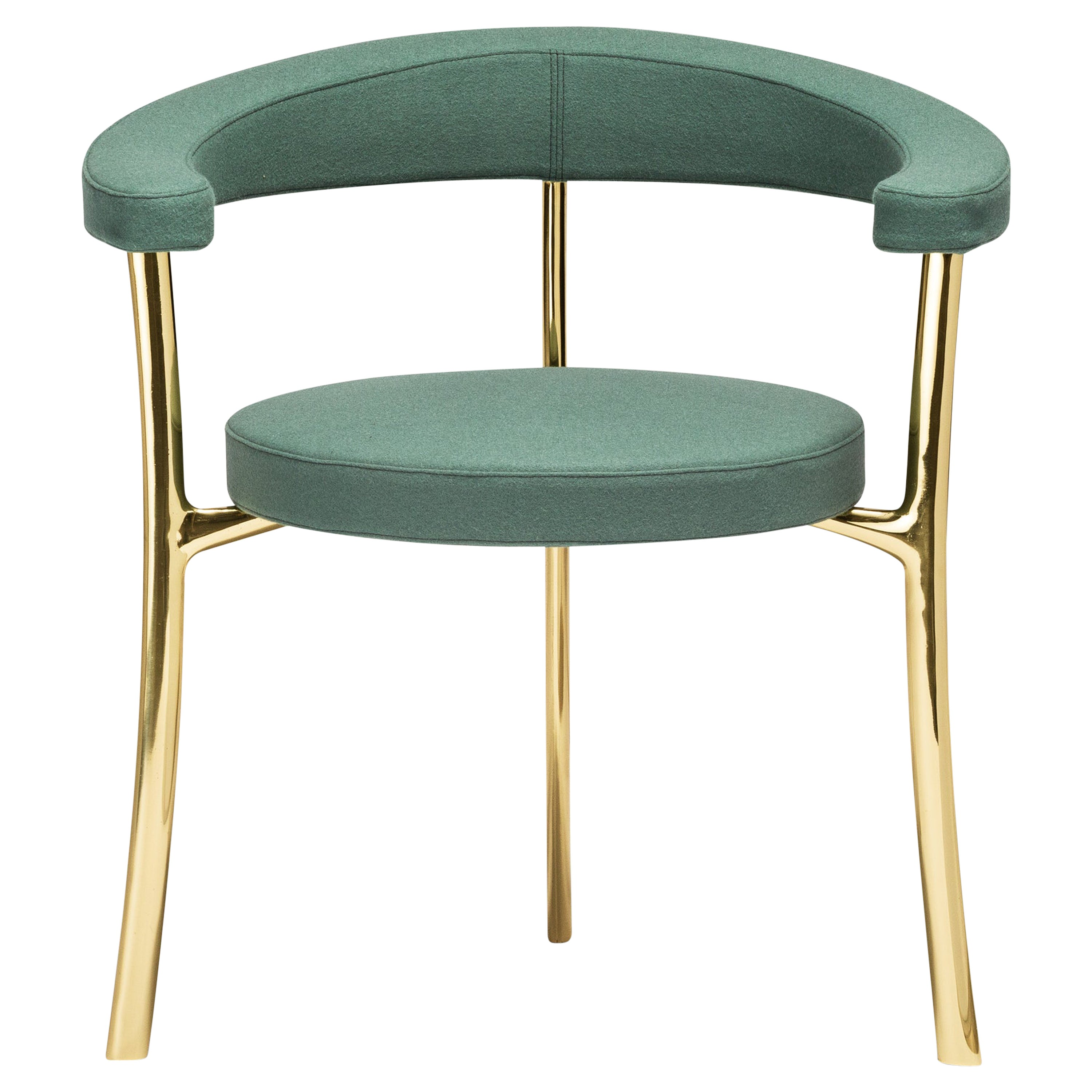 Ghidini1961 Katana Armchair in Fabric with Polished Brass Legs by Paolo Rizzatto