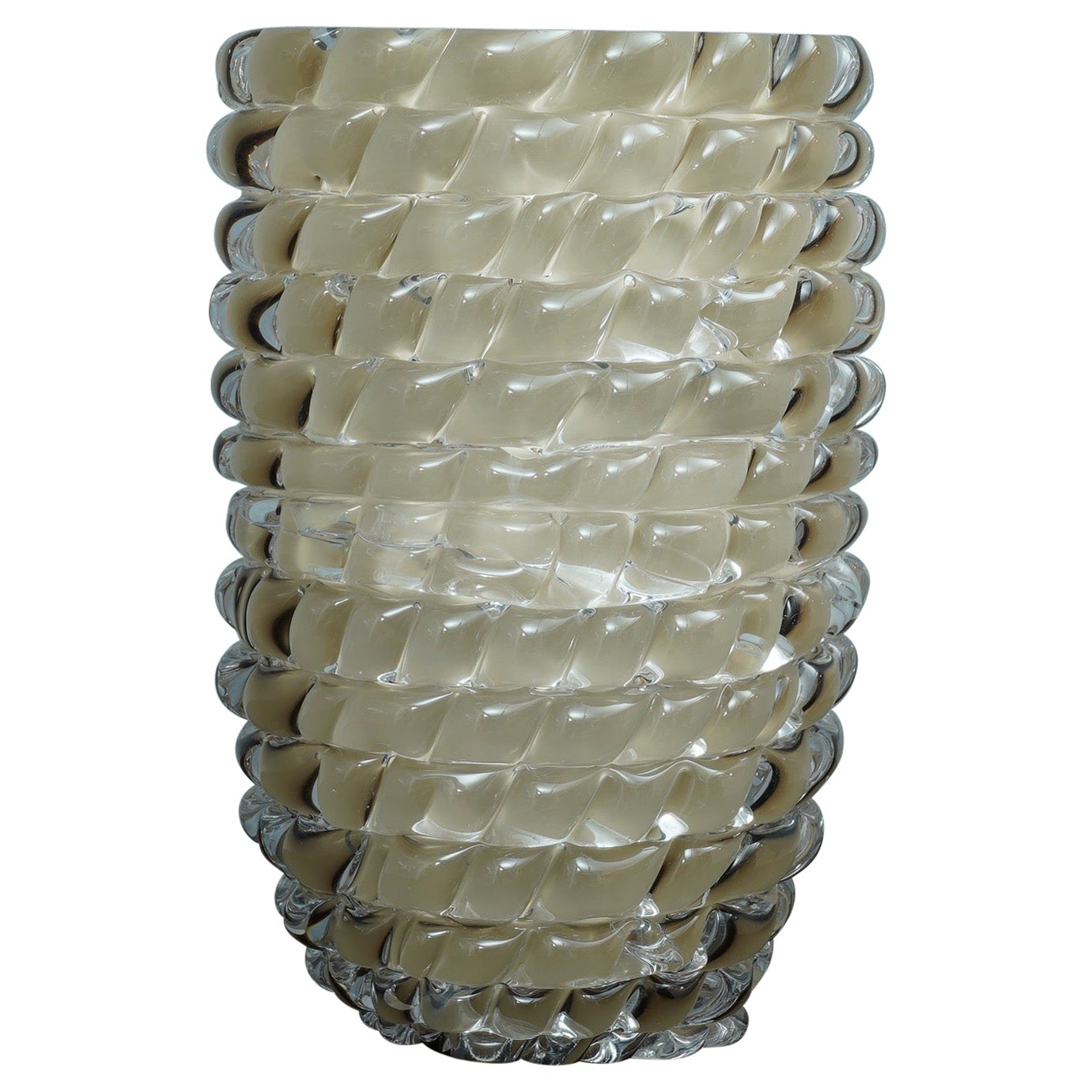 Murano Midcentury Round Dove Gray Color Italian Vase, 1970