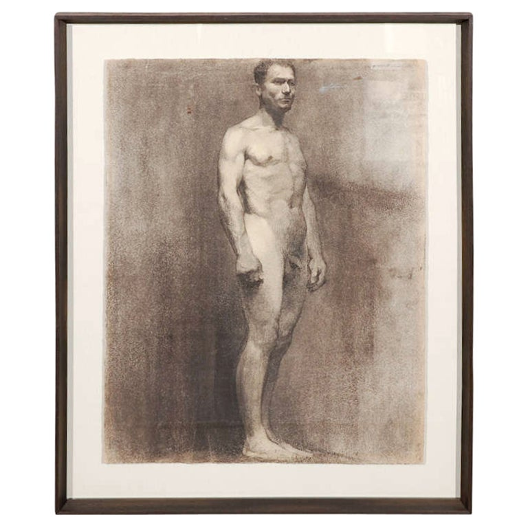 Custom Modern Framed Charcoal Male Nude Drawing by Artist Landini, Italy, 1908